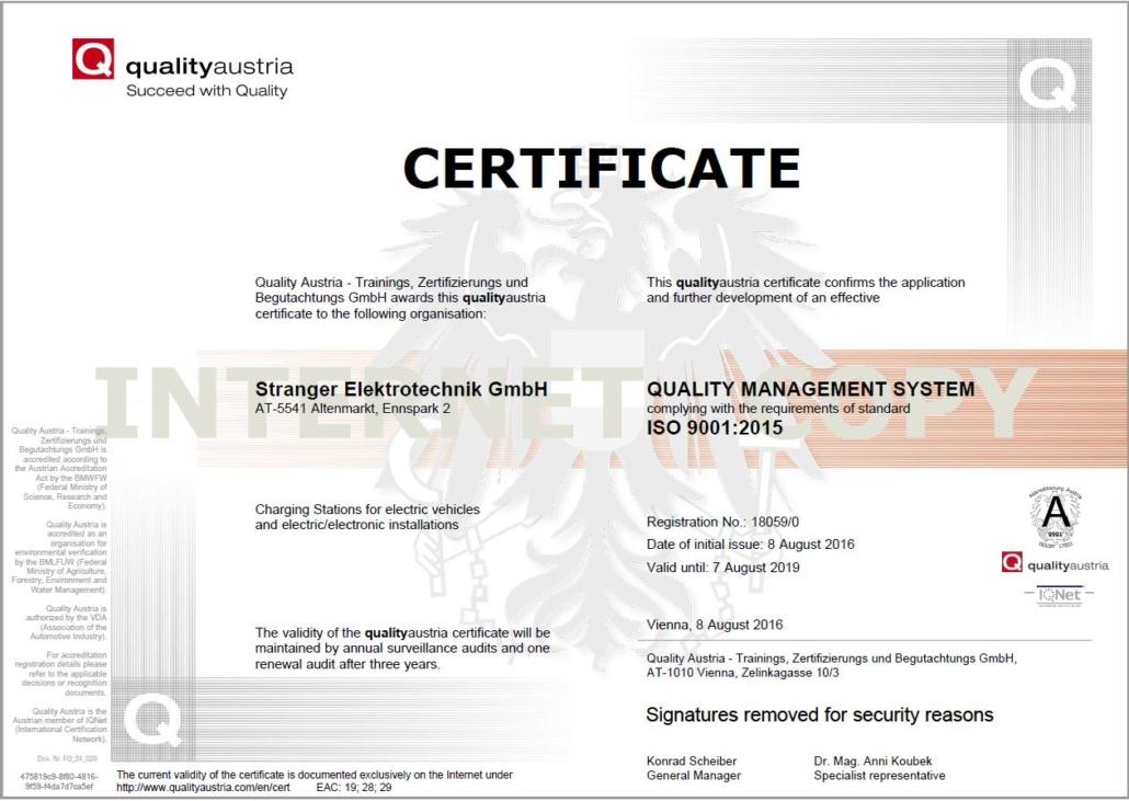 Quality austria ISO9001 bike-energy