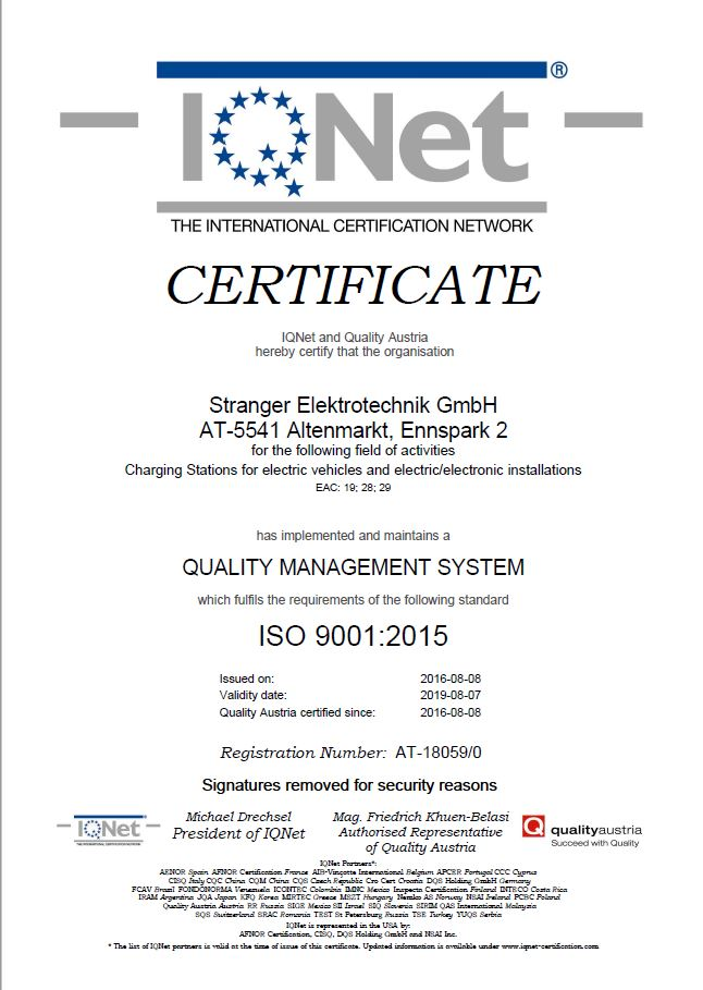 biike energy charging stations iso9001