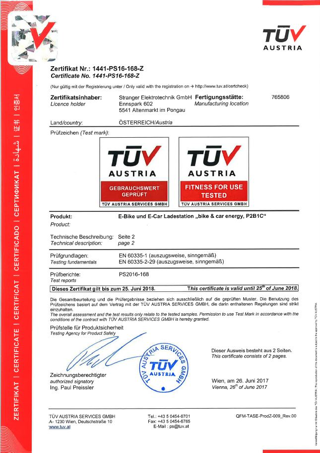 TUV certificate of charge stations